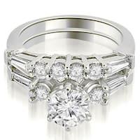 1.90 CT.TW Baguette and Round Diamond Bridal Set - White H-I
