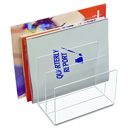 Kantek Inc Ad45 Acrylic Desk File - Three Sections - 8 X 6 1/2 X 7 1/2 - Clear