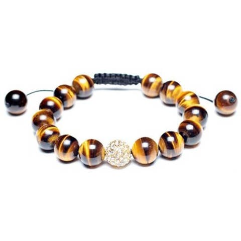 Brown Tiger Eye Pave Crystal Ball Beads Shamballa Inspired Bracelet For Women Black Cord String Adjustable