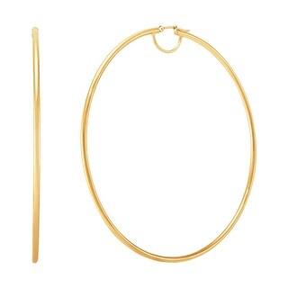 Link to 80 mm Round Hoop Earrings in 14K Gold with Bridge - Yellow Similar Items in Earrings