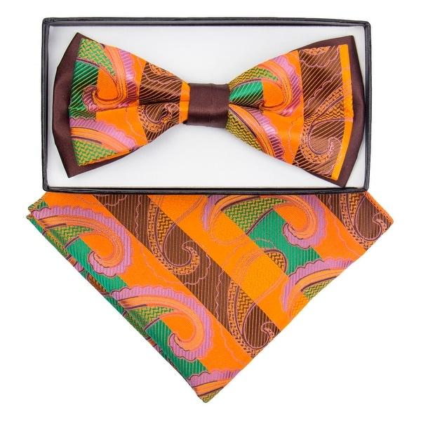 Men's Brown, Orange Paisley Pre-tied Two-Tone Bow tie & Handkerchief Set - One size