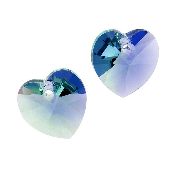 Swarovski Crystal, 6228 Heart Pendants 10mm, 6 Pieces, Provence Lavender / Chrysolite Blend