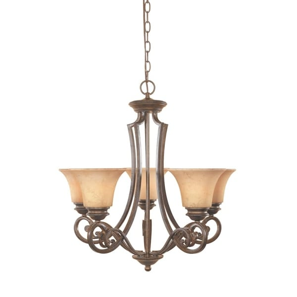 Designers Fountain 81885 Five Light Up Lighting Chandelier from the Mendocino Collection