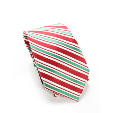 MMG Red Green Men's One Size Holiday Traditions Stripe Neck Tie