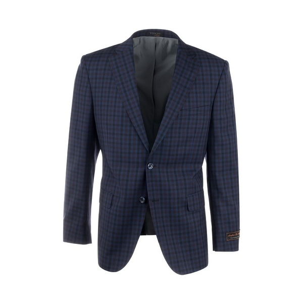 Dolcetto Navy Blue with Black and Purple Check Pattern Modern Fit, Pure Wool Jacket by Tiglio Luxe 74274/5. Opens flyout.
