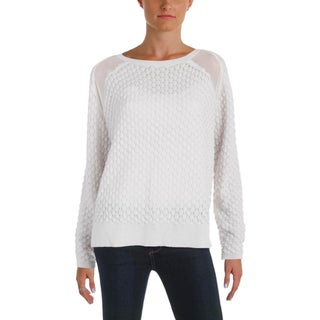 French Connection Womens Pullover Sweater Long Sleeve Mesh Cutout