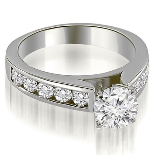 2.00 cttw. 14K White Gold Cathedral Channel Round Cut Diamond Engagement Ring