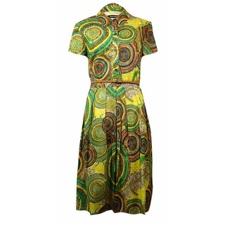 Ellen Tracy Women's Printed Pocket Belted Dress - 12