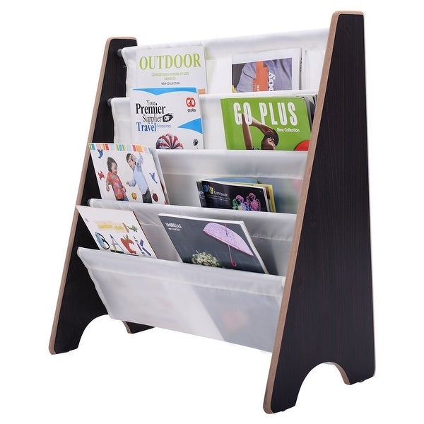 Costway Kids Sling BookShelf Storage Rack Organizer Bookcase Display Holder Coffee