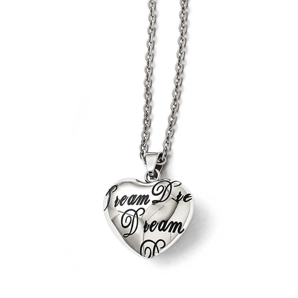 "Chisel Stainless Steel Polished Heart ""Dream"" Necklace - 18 in"