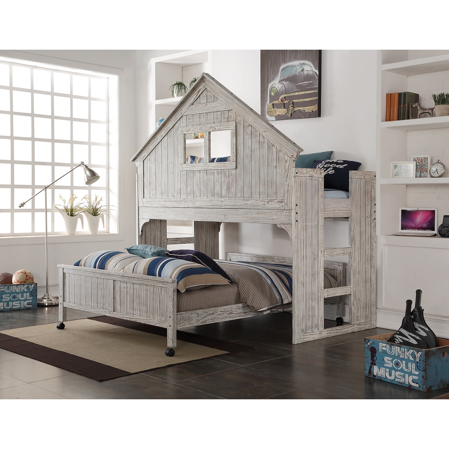 Donco Kids Brushed Driftwood Finish Club House Low Loft With Full Size Caster Bed Overstock 10958798