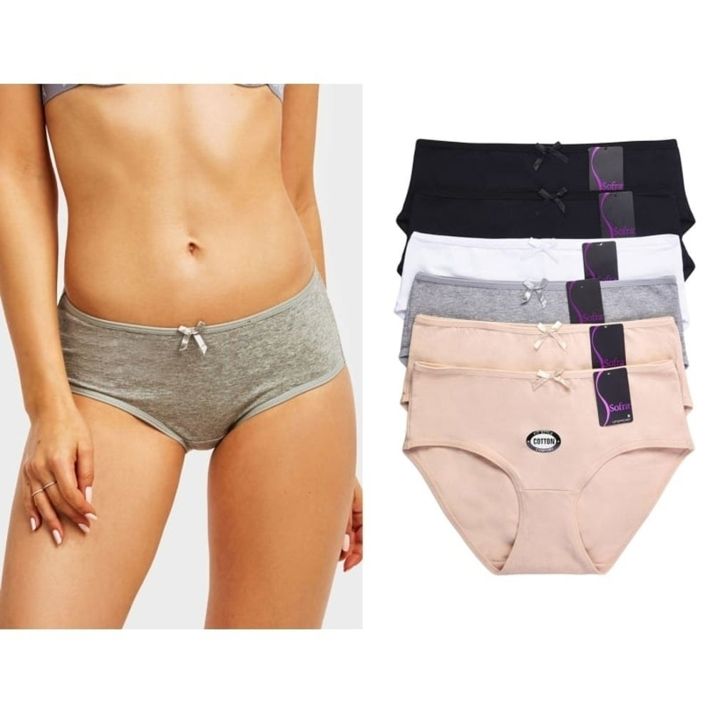 6 Pack of Women Bikini Panties Basic Cotton Stretch Mid Rise Underwear - XL
