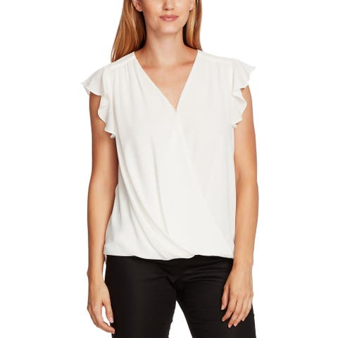 Vince Camuto Womens Blouse V-Neck Flutter Sleeves