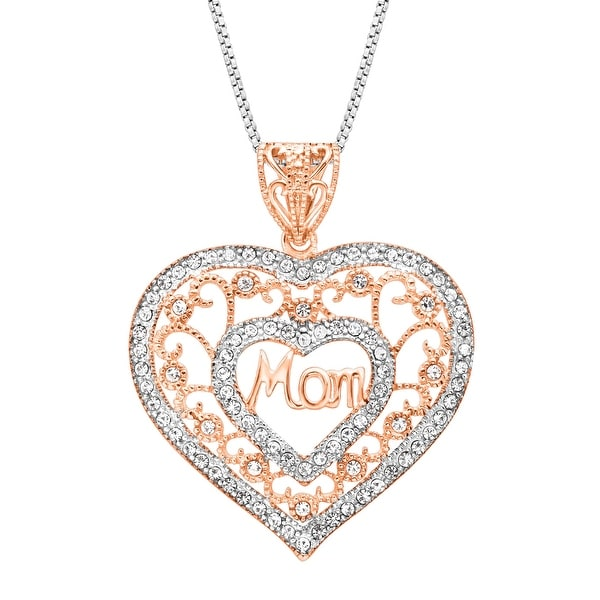 Crystaluxe Domed Heart Pendant With Swarovski Crystals in 14K Rose-Gold Plated Sterling Silver - Whi