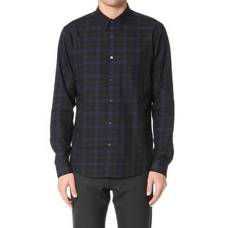Theory NEW Black Navy Men's Size Large L Button Down Checkered Shirt