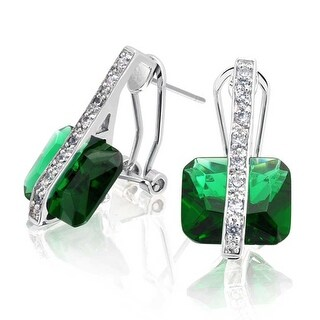 Bling Jewelry Princess Cut Green CZ Earrings Rhodium Plated Brass