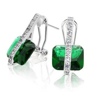 Bling Jewelry Princess Cut Green CZ Earrings Rhodium Plated Brass