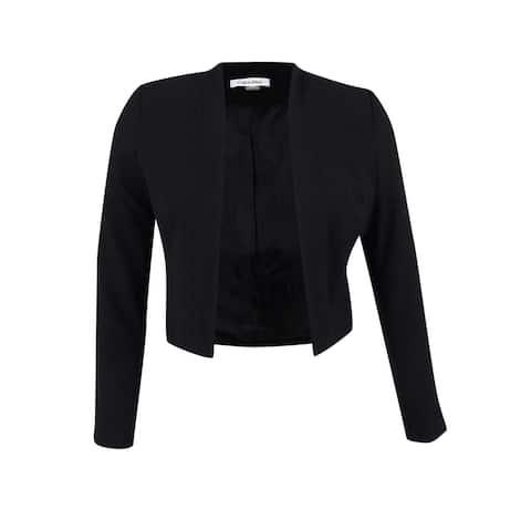 Calvin Klein Women's Open-Front Cropped Jacket - Black