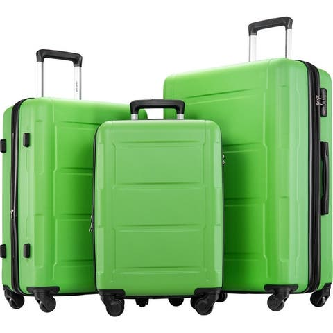 Merax 3 Piece Luggage Set ABS Lightweight Suitcase with TSA Lock and Expanable Spinner Wheel
