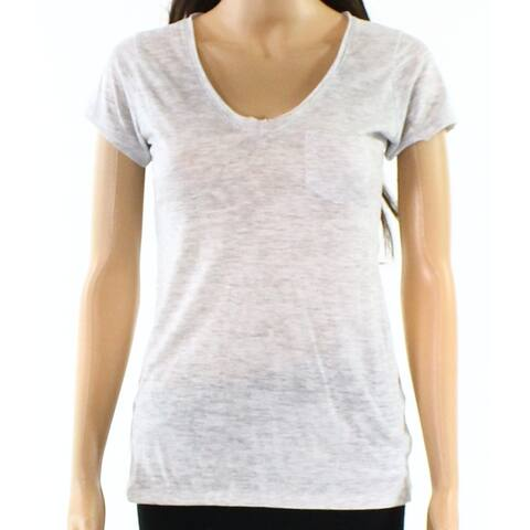 Alternative Women's Knit Top Tee T-Shirt Gray Large L V-Neck Pocket