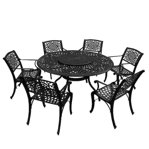 Outdoor Lattice 59-in. Round Dining Set with Lazy Susan and Six Chairs