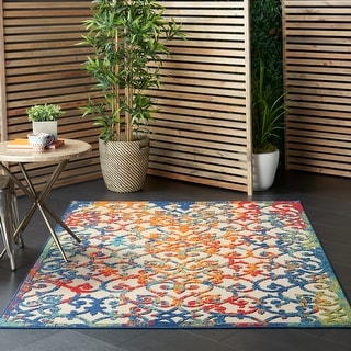 Nourison Aloha Polypropylene Transitional Indoor/Outdoor Damask Rug