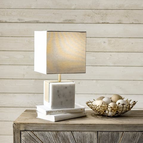 """nuLOOM Newell 17"""" Plated Marble Cube Table Lamp"""