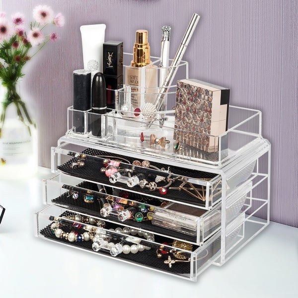 Multi-functive Cosmetics Storage Rack Make up Case with 3 Drawers. Opens flyout.