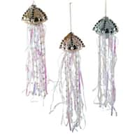 Pearls and Jewels Jellyfish Christmas Holiday Ornaments Glass Set of 3