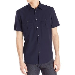 Calvin Klein NEW Blue Mens Size Large L Double Pocket Button Down Shirt