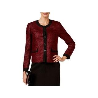 Kasper Womens Petites Bordeaux Blazer Metallic Five-Button