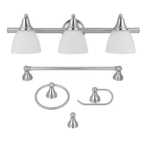 Globe Electric 50700 Estoril 5-Piece Bathroom Vanity Light Set with Towel Bar, Towel Ring, Robe Hook, and Toilet Paper Holder