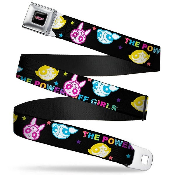 The Powerpuff Girls Black White Pink Full Color The Powerpuff Girls Heads Seatbelt Belt