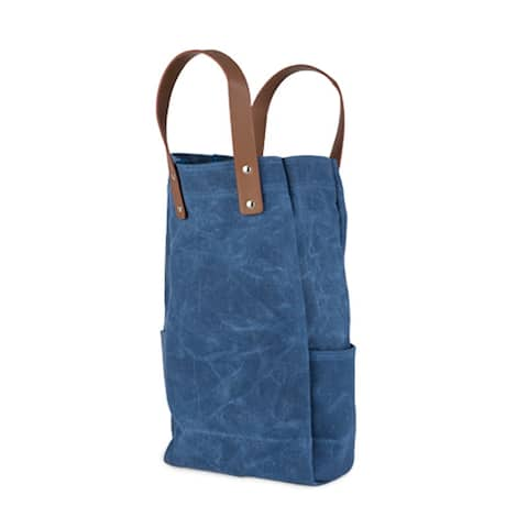 Waxed Canvas Double Bottle Wine Bag by True - Pictured