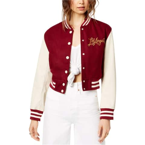 Kendall Kylie Womens Los Angeles Varsity Jacket, Red, Large
