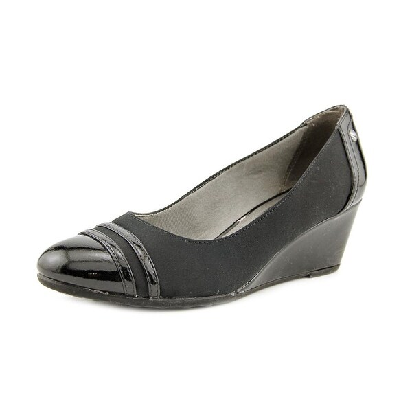 Life Stride Juliana Women Open Toe Synthetic Black Wedge Heel