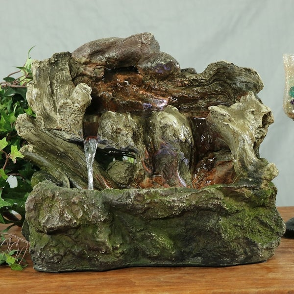 Sunnydaze Aged Tree Trunk Tabletop Water Fountain with LED Lights - 10.5-Inch