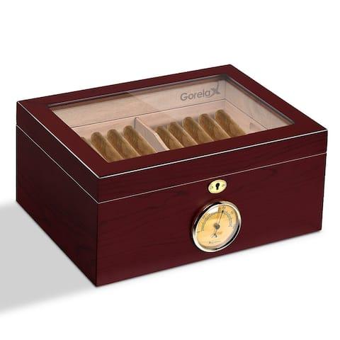 Gymax 75-100 Lockable Cigar Humidor Storage Box Desktop Glasstop