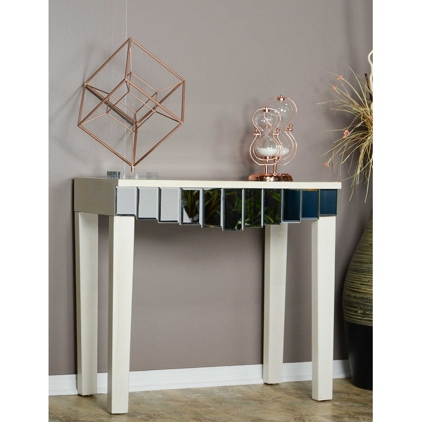 1 Drawer Mirrored Console Table Mdf Wood Gl In Antique White Free Shipping Today 24232285