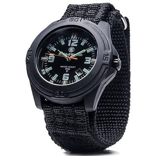 Smith & Wesson Soldier Watch Nylon Strap SWISS TRITIUM Shock Resistant 10ATM - Black