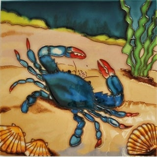 Blue Crab with Seashells Ceramic Tile 4 Inches