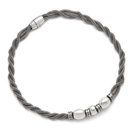 Chisel Stainless Steel Polished and Brushed Beads Twisted Necklace - 18 in