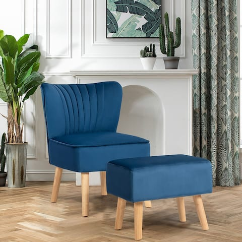 Costway Leisure Chair and Ottoman Thick Padded Velvet Tufted Sofa Set