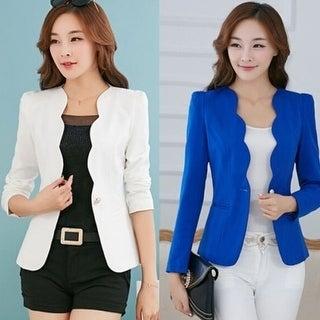 Women's One Button Casual Slim Business Blazer Suit Jacket Coat Outwear