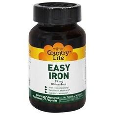 Country Life Vitamins Easy Iron 25 mg (90 Veggie Capsules)