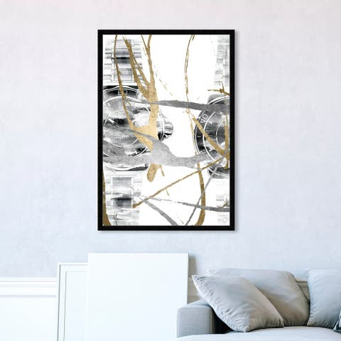 Oliver Gal 'Chronos II' Fashion and Glam Framed Wall Art Prints Accessories - Gold, Gray