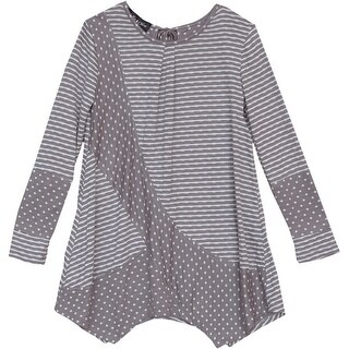 Isobella & Chloe Girls Taupe Stripe Polka Dot Long Sleeved Top 8-10