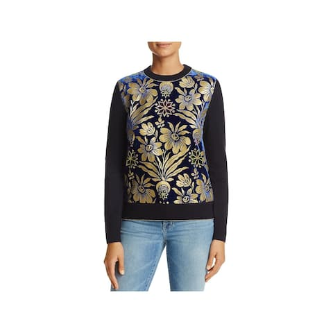 Tory Burch Womens Sweater Velvet Floral Print - XS