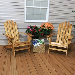 Sunnydaze Rustic Wooden Adirondack Chair with Light Charred Finish - Set of 2