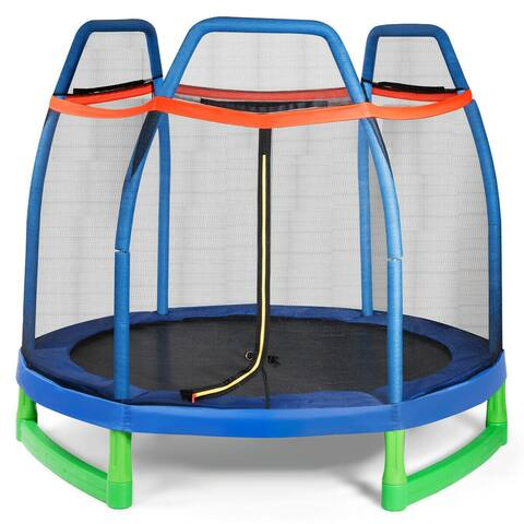 7FT Kids Trampoline W/ Safety Enclosure Net - 7 Feet